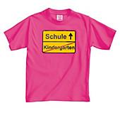 Fun-Shirt Kindergarten/Schule, pink (Grösse: 122/128)