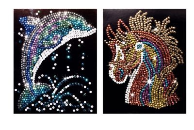 Paillettenbilder (Motive: Pferd & Delfin)